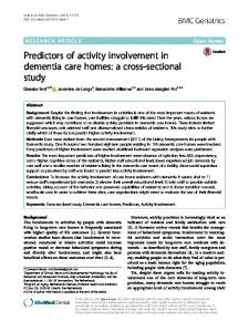 Predictors of activity involvement in dementia care