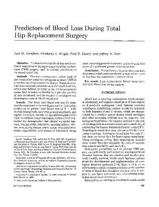 Predictors of blood loss during total hip ... - Wiley Online Library