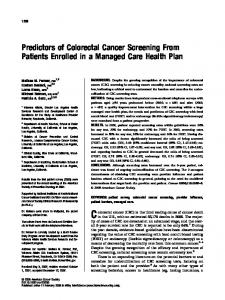 Predictors of colorectal cancer screening from ... - Wiley Online Library