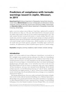 Predictors of compliance with tornado warnings ... - Wiley Online Library