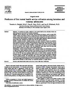 Predictors of first mental health service utilization among homeless ...