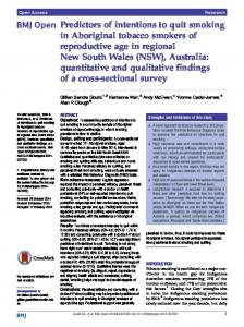 Predictors of intentions to quit smoking in Aboriginal tobacco smokers ...