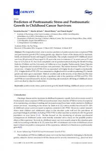 Predictors of Posttraumatic Stress and Posttraumatic Growth in ... - MDPI