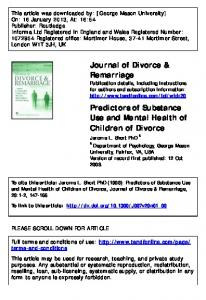 Predictors of Substance Use and Mental Health of ...