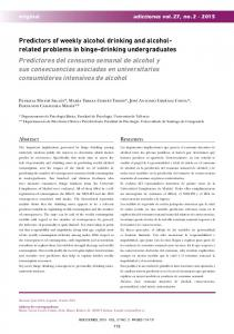 Predictors of weekly alcohol drinking and alcohol- related problems in ...