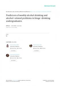 Predictors of weekly alcohol drinking and alcohol