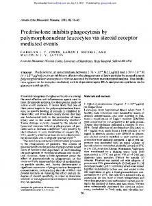 Prednisolone inhibits phagocytosis by ...