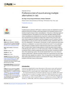 Preference test of sound among multiple alternatives in rats - PLOS