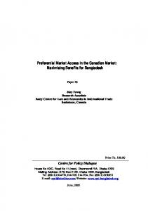 Preferential Market Access in the Canadian Market - Centre for Policy ...