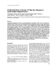Preferential Sites in Keratin 10 That Are Mutated in ... - NCBI