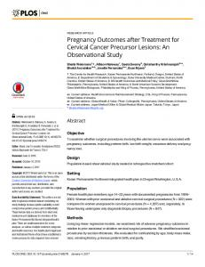 Pregnancy Outcomes after Treatment for Cervical Cancer ... - PLOS