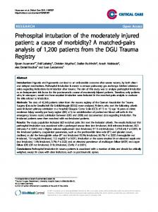 Prehospital intubation of the moderately injured patient - CiteSeerX