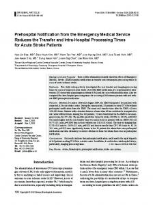 Prehospital Notification from the Emergency Medical ... - BioMedSearch