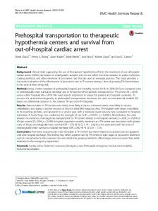 Prehospital transportation to therapeutic hypothermia ... - CiteSeerX