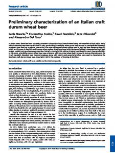 Preliminary characterization of an Italian craft durum wheat beer