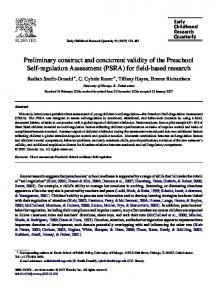 Preliminary construct and concurrent validity of the ... - CiteSeerX