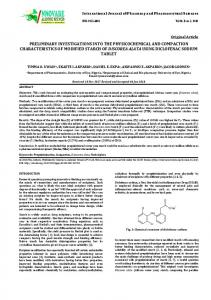 preliminary investigations into the physicochemical and compaction