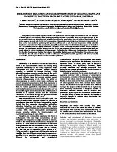 preliminary isolation and characterization of halotolerant and ...