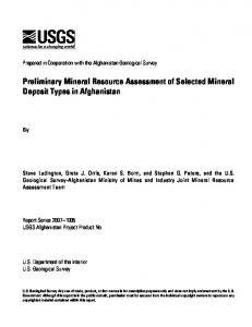 Preliminary Mineral Resource Assessment of Selected Mineral ...
