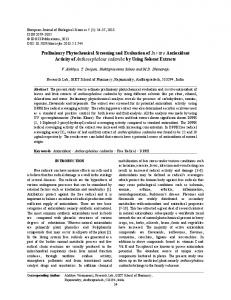 Preliminary Phytochemical Screening and Evaluation of In vitro ...