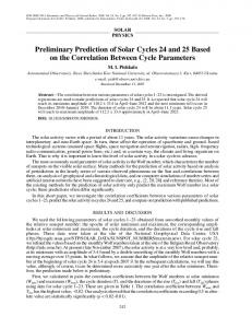 Preliminary Prediction of Solar Cycles 24 and 25 ... - Springer Link