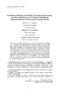 Preliminary Reliability and Validity of the Generalized