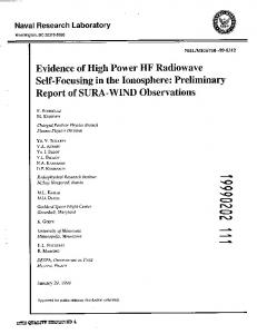 Preliminary Report of SURA-WIND Observations