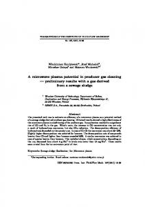 preliminary results with a gas derived from a sewage sludge