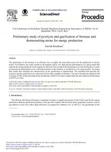 Preliminary Study of Pyrolysis and Gasification of Biomass and ...