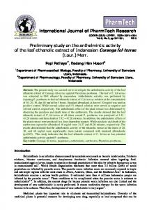 Preliminary study on the anthelmintic activity of the leaf ethanolic ...