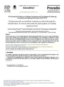 Preliminary Web Accessibility Evaluation Method through the ...