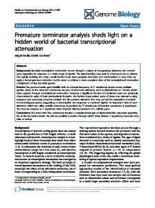 Premature terminator analysis sheds light on a hidden ... - ScienceOpen
