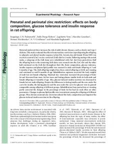 Prenatal and perinatal zinc restriction: effects on ... - Wiley Online Library