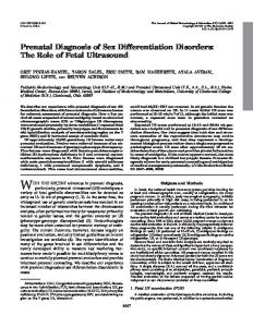 Prenatal Diagnosis of Sex Differentiation Disorders: The Role of Fetal ...