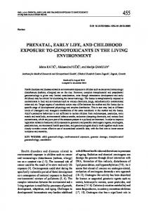 Prenatal, Early Life, and Childhood Exposure to Genotoxicants in the ...