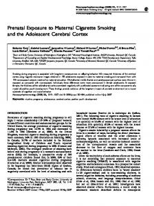 Prenatal Exposure to Maternal Cigarette Smoking and the Adolescent ...