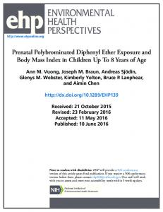 Prenatal Polybrominated Diphenyl Ether Exposure and Body Mass ...
