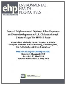 Prenatal Polybrominated Diphenyl Ether Exposures and ...