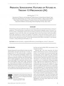 Prenatal Sonographic Features of Fetuses in Trisomy 13 ... - Core