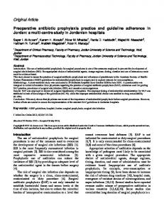 Preoperative antibiotic prophylaxis practice and guideline adherence ...