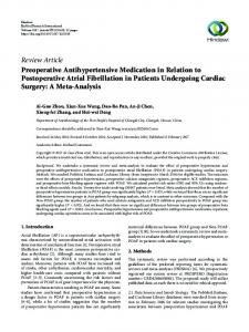 Preoperative Antihypertensive Medication in Relation to Postoperative ...