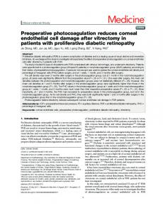 Preoperative photocoagulation reduces corneal endothelial cell