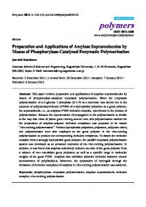 Preparation and Applications of Amylose Supramolecules by Means of ...