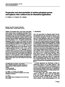 Preparation and characterisation of calcium-phosphate ... - Springer Link