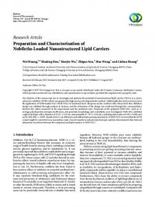 Preparation and Characterisation of Nobiletin-Loaded Nanostructured ...
