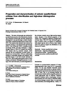 Preparation and characterization of cationic ... - Springer Link