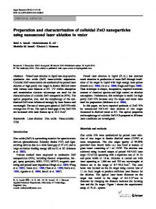 Preparation and characterization of colloidal ZnO nanoparticles using ...