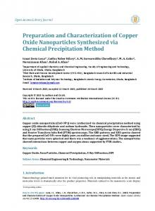 Preparation and Characterization of Copper Oxide Nanoparticles