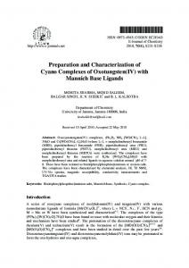 Preparation and Characterization of Cyano Complexes of