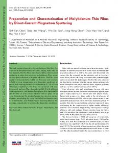 Preparation and Characterization of Molybdenum Thin Films by Direct